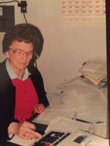 Esther Schmidt doing venison billing at the age of 89.
